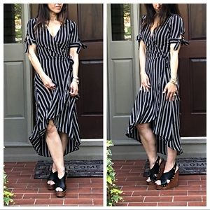 Dresses & Skirts - Striped high low chic wrap dress